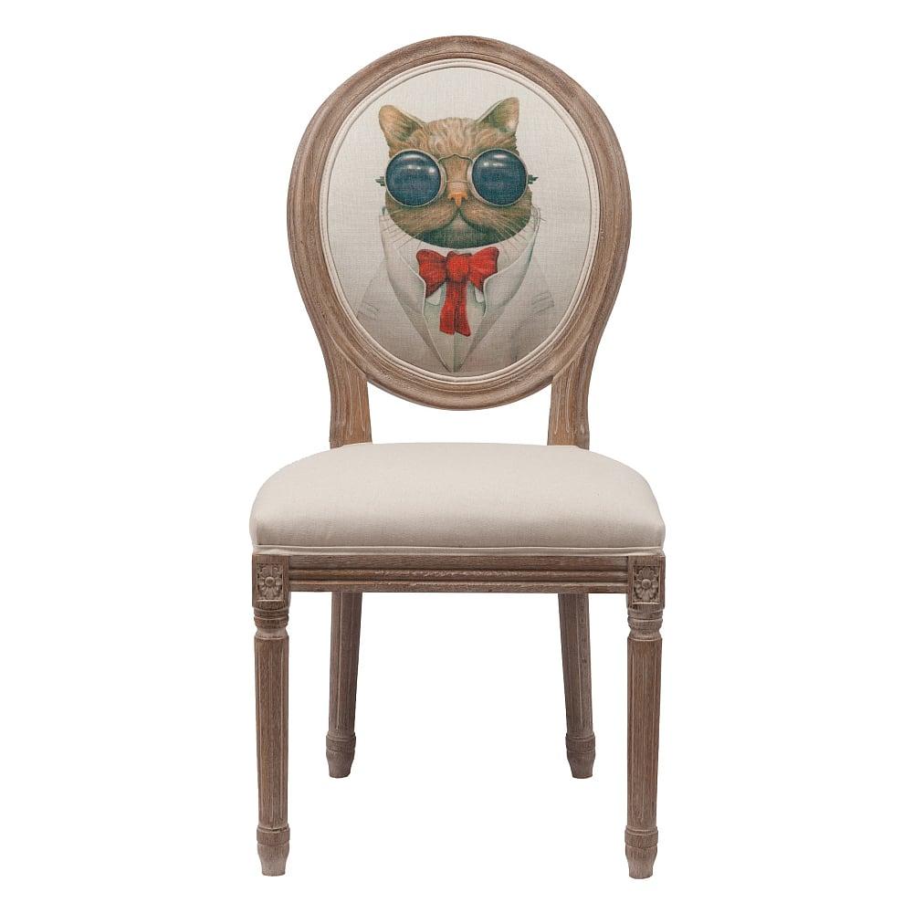 Стул Mr. Cat, DG-F-CH594  Креативный стул Mr. Cat в стиле модерн представлен  в бежевой цветовой гамме. Основание и ножки  изготовлены из натурального дуба орехового  цвета с легким эффектом патинирования.  На спинке эффектно расположился оригинальный  рисунок. Обивка стула Mr. Cat изготовлена из  прочной ткани, в состав которой входит натуральный  хлопок и лен. В качестве наполнителя использован  мягкий поролон. Высота стула от пола до  сидения 49 см.