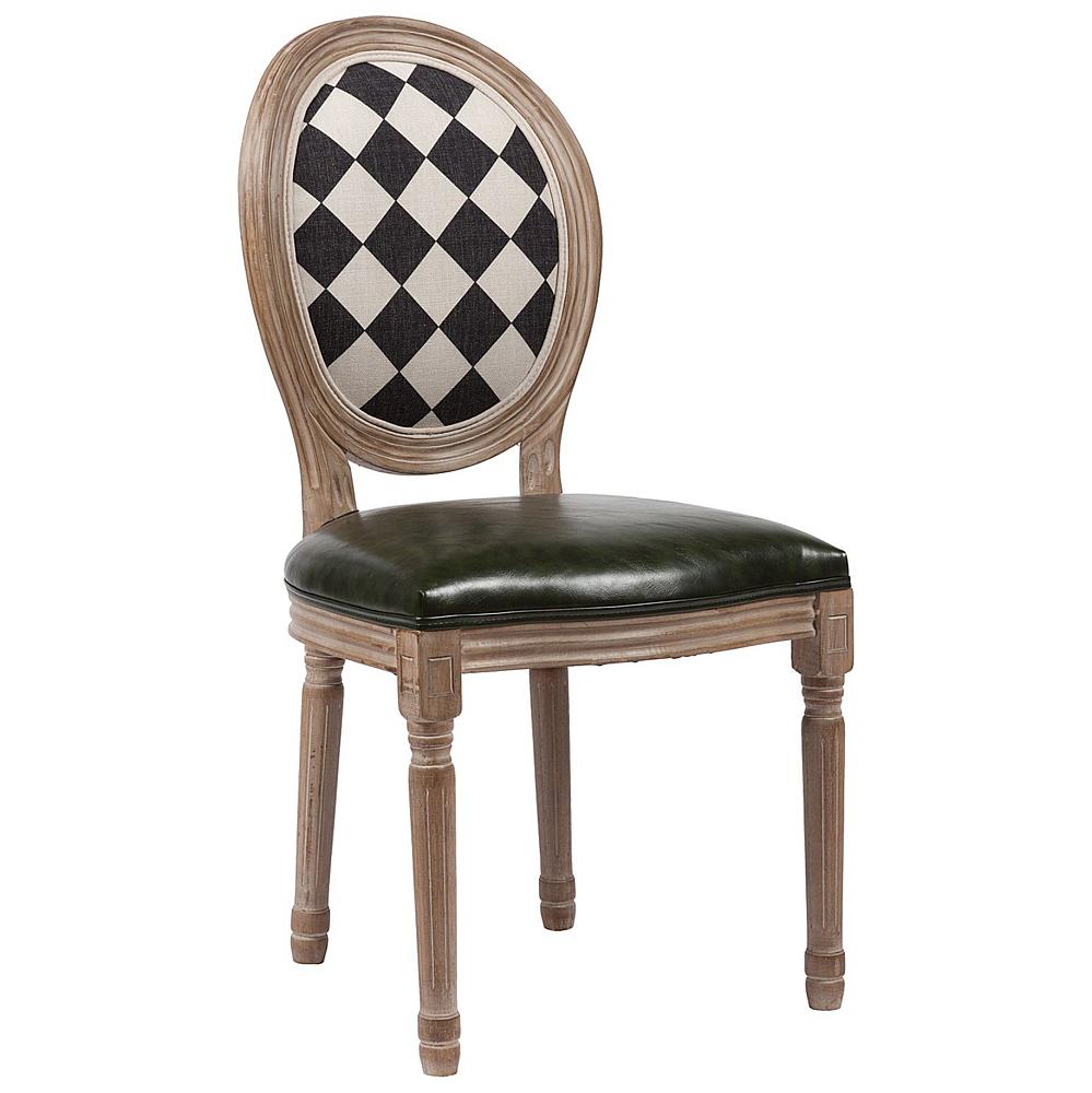 Стул Checkers DG-HOME Роскошный стул Checkers в стиле модерн привлекает  своей простотой в то же время оригинальностью.  Обивка выполнена из искусственной кожи  тёмно-коричневого цвета. Каркас и ножки  выполнены из натуральной березы с эффектом  патинирования.Спинка стула Checkers имеет расцветку,  напоминающий шахматную доску. В качестве  наполнителя используется мягкий упругий  поролон. Высота стула от пола до сидения  50 см.