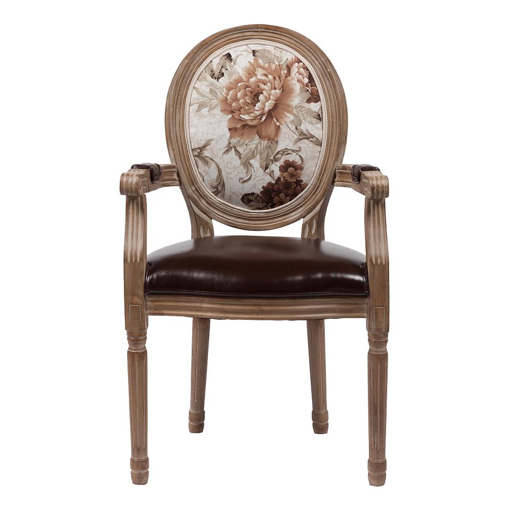 Стул Vintage Flowers DG-HOME Оригинальный стул Vintage Flowers в стиле модерн  представлен в коричневой цветовой гамме.  Основание и ножки изготовлены из натурального  дуба орехового цвета с легким эффектом  патинирования. На спинке эффектно расположился  красочный цветочный рисунок. Обивка спинки  изготовлена из прочной ткани, в состав которой  входит натуральный хлопок и лен, а сидение  — из искусственной кожи коричневого цвета.  В качестве наполнителя использован мягкий  поролон. Данная модель оснащена удобными  подлокотниками. Высота стула от пола до  сидения 50 см.