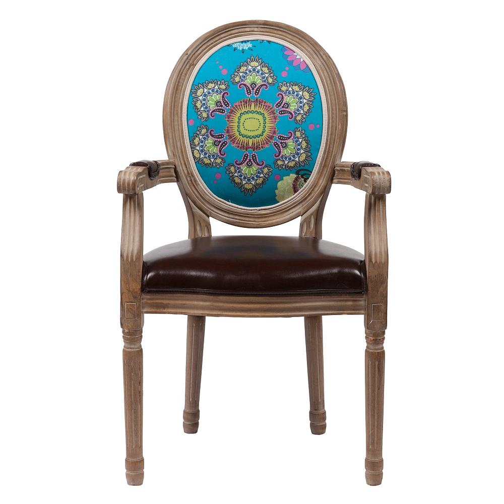 Стул Surrealism DG-HOME Оригинальный стул Surrealism в стиле модерн  представлен в коричневой цветовой гамме.  Основание и ножки изготовлены из натурального  дуба орехового цвета с легким эффектом  патинирования. На спинке эффектно расположился  красочный цветочный рисунок. Обивка спинки  изготовлена из прочной ткани, в состав которой  входит натуральный хлопок и лен, а сидение  — из искусственной кожи коричневого цвета.  В качестве наполнителя использован мягкий  поролон. Данная модель оснащена удобными  подлокотниками. Высота стула от пола до  сидения 50 см.