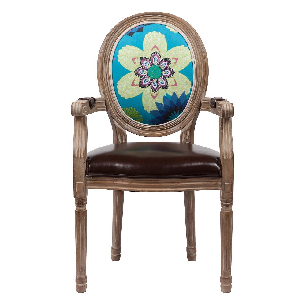 Стул Flower DG-HOME Современный стул Flower в стиле модерн представлен  в коричневой цветовой гамме. Спинка стула  изготовлены из прочной ткани, в состав которой  входит натуральный хлопок и лен, а сидение  — из искусственной кожи. В качестве наполнителя  производитель использует мягкий поролон.  Основание и ножки изготовлены из натуральной  берёзы орехового цвета с легким эффектом  патинирования. На спинке эффектно расположился  яркий цветочный рисунок. В качестве наполнителя  использован мягкий поролон. Данная модель  оснащена удобными подлокотниками. Высота  стула от пола до сидения 50 см.