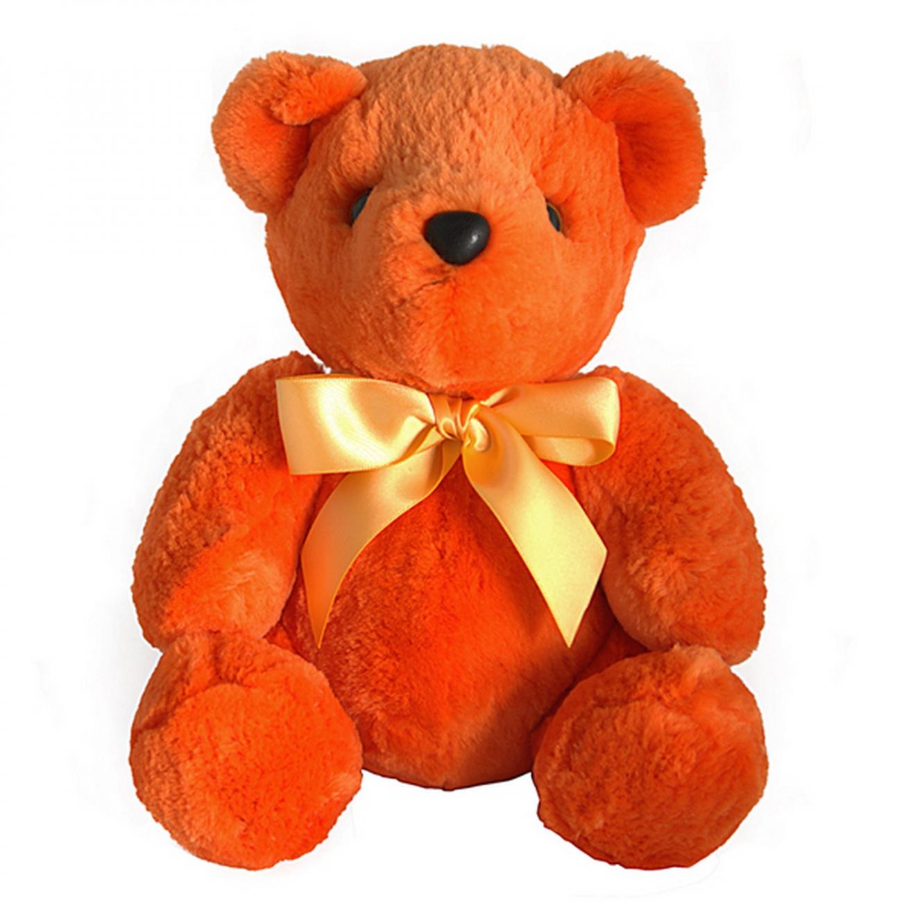 Купить Игрушка Медвежонок с бантом (оранжевый) натуральный мех бобра в интернет магазине дизайнерской мебели и аксессуаров для дома и дачи
