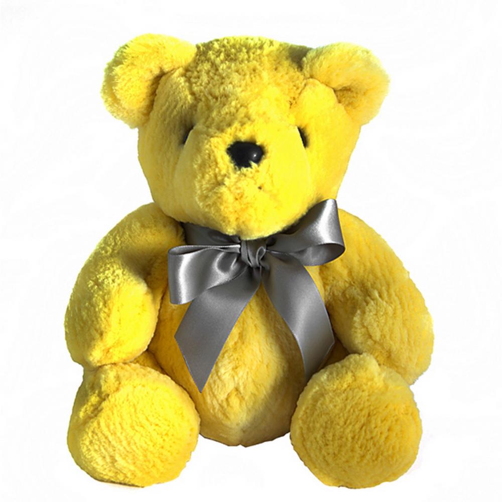 Игрушка Медвежонок с бантом (желтый) натуральный  мех бобра, DG-D-TS03-3 от DG-home