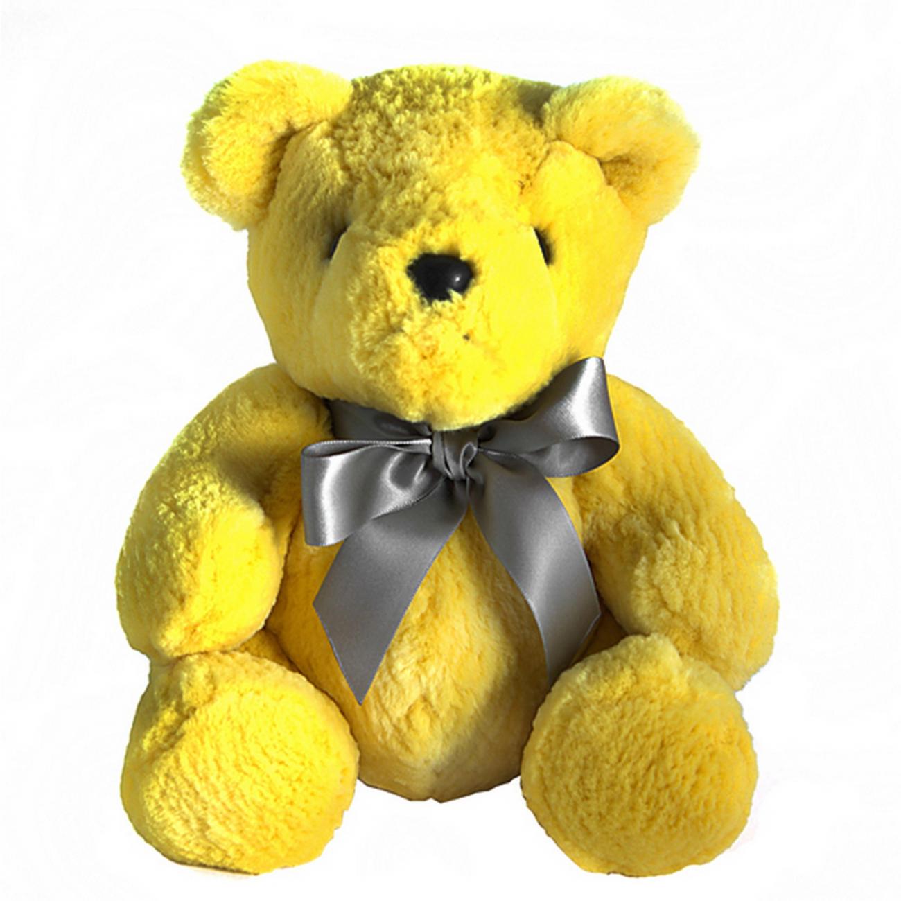 Купить Игрушка Медвежонок с бантом (желтый) натуральный мех бобра в интернет магазине дизайнерской мебели и аксессуаров для дома и дачи