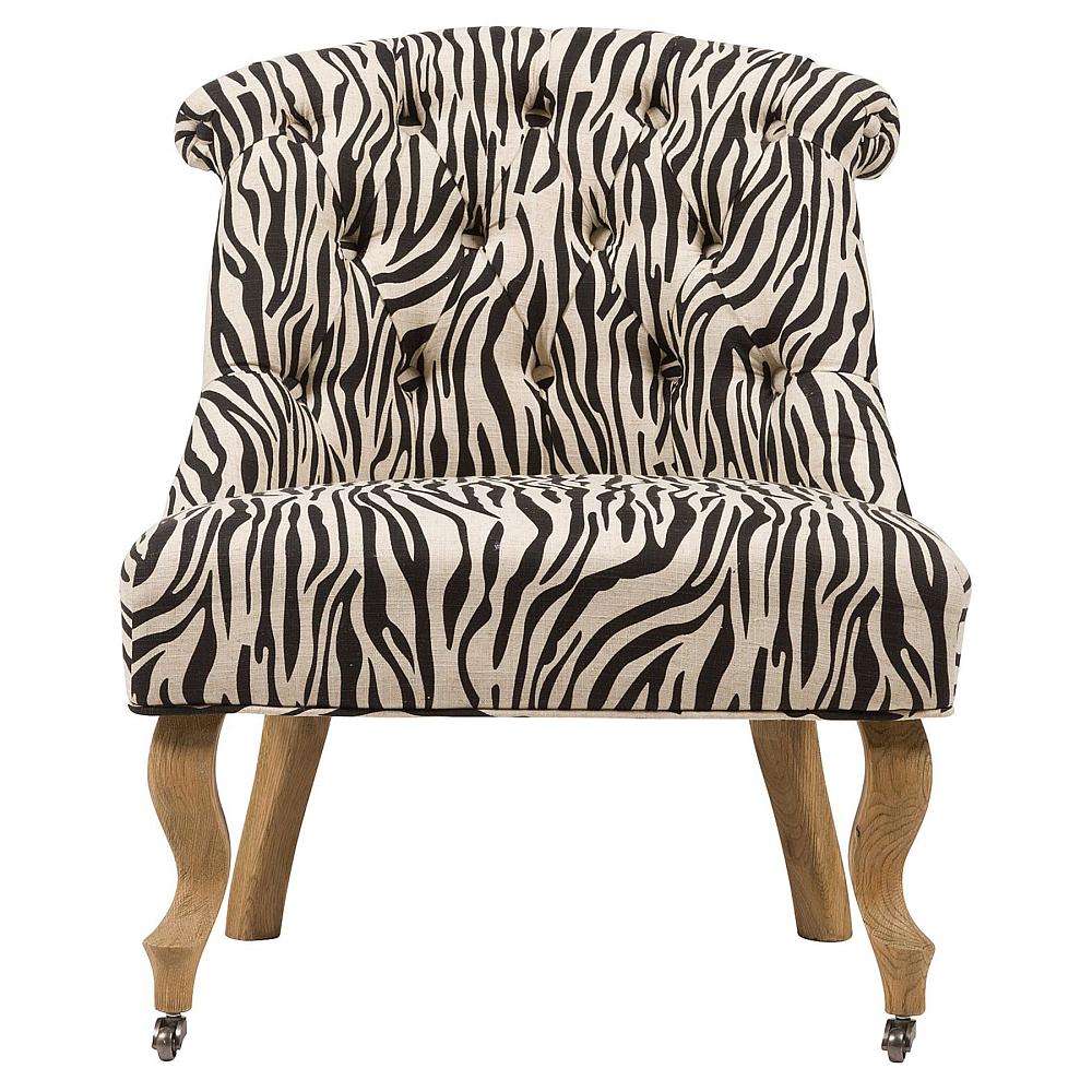 Кресло Amelie French Country Chair ЗебраКресла<br>Изысканное кресло Amelie French Country в стиле модерн <br>сделает дизайн интерьера любого дома ярким <br>и изысканным. Шикарная обивка деревянного <br>каркаса с кнопками выполнена из высококачественной <br>ткани серого цвета с рисунком шкуры зебры. <br>Сидение имеет необычайно удобную форму <br>— изогнутость спинки повторяет очертание <br>спины человека, поэтому такое кресло не <br>только украсит ваш дом, но и станет комфортным <br>местом для отдыха. Изящно изогнутые передние <br>ножки оснащены латунными колесиками, изготовлены <br>из прочного натурального дерева насыщенного <br>коричневого цвета.<br><br>Цвет: Серый, Чёрный<br>Материал: Дерево, Ткань<br>Вес кг: 11<br>Длина см: 64<br>Ширина см: 69<br>Высота см: 76