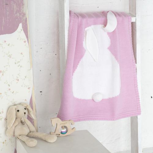 Купить Плед розовый Зайка большой в интернет магазине дизайнерской мебели и аксессуаров для дома и дачи