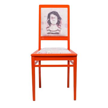 Стул Dont speak, NR-F-CH02  Антикварный стул в стиле ампир. Возраст  около 100 лет. Дизайн коллажей на основе принтов  Балажа Шолти (Balazs Solti). Ручная роспись/ Реставрация.