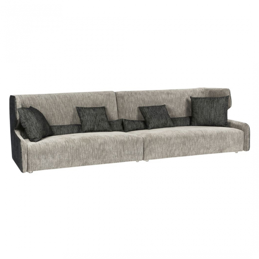 Диван Mia MS1304/DOLAM-08-14/4S (Mia), 01150  Этот диван подойдет Вам, если Вы любите  мешать стили и не боитесь смелых дизайнерских  решений. Декорированный по бокам серой  тканью, в тон длинному валику и подушкам,  он будет великолепен в изысканном, тщательно  продуманном интерьере. И пусть Вас не смущает  светлая обивка внутренней части – современный,  водоотталкивающий материал позволит дивану  Mia прослужить Вам долго. Просто подберите  подходящий Вам размер и цветовую гамму.