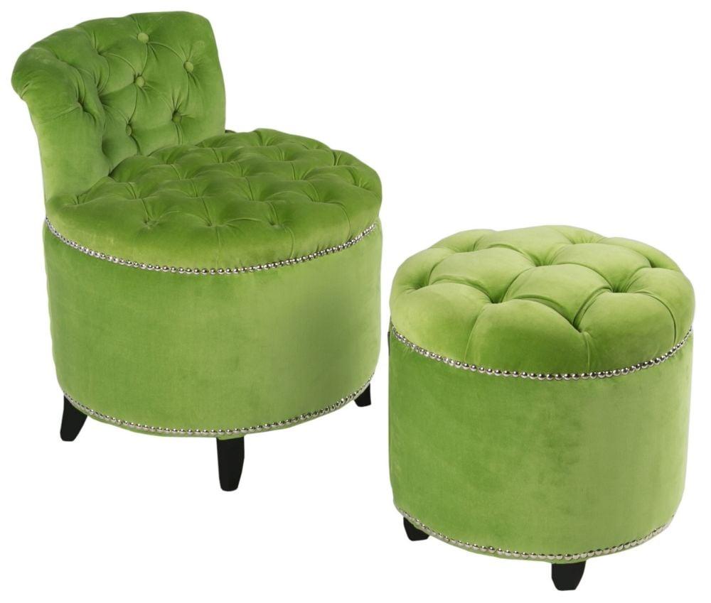 Купить Комплект стул + пуф Greta - Green velvet / CHR05811 (Greta) в интернет магазине дизайнерской мебели и аксессуаров для дома и дачи