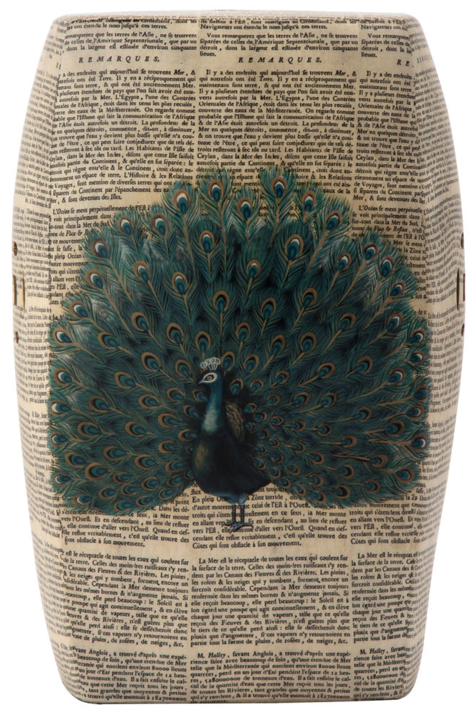 Купить Керамический столик-табурет Garden Stool с павлином в интернет магазине дизайнерской мебели и аксессуаров для дома и дачи
