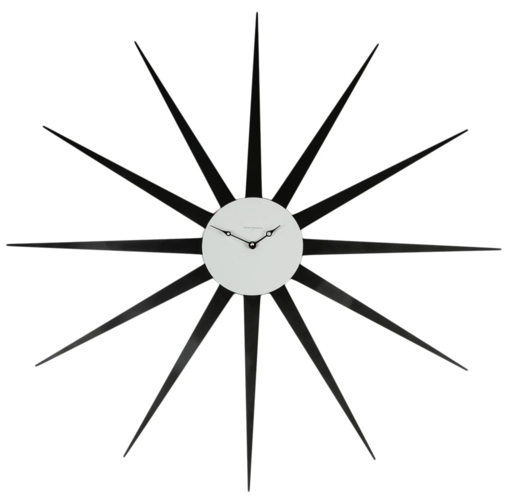Часы настенные STAR Lacquered Metall Frame Black Dial White 372