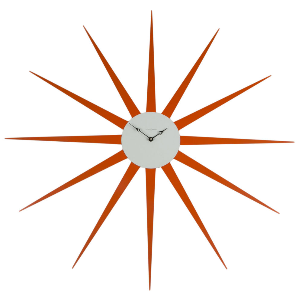 Часы настенные STAR Lacquered Metall Frame Orange Dial White 372, 00273
