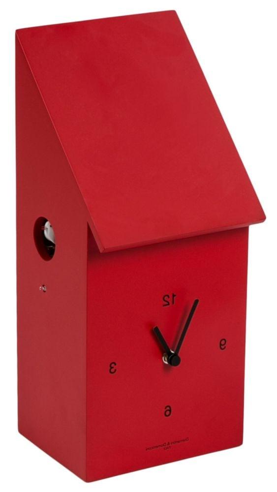 Часы настенные с кукушкой HALF TIME Laquered wooden frame/ Red/ Dial black/ White bird / 212 (HALF T, 00179