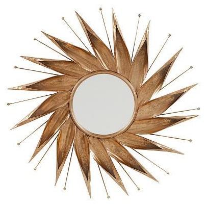 Зеркало NovaraЗеркала<br>Замечательное настенное зеркало в виде <br>солнца Novara является частью коллекции зеркал <br>нашего интернет-магазина. Небольшое круглое <br>зеркало заключено в раму в виде кружащихся <br>по спирали солнечных лучей золотистого <br>цвета, кажется, что оно движется. Несомненно, <br>этот элемент декора станет изысканным украшением <br>вашего дома.<br><br>Цвет: Золото<br>Материал: Металл, Зеркало<br>Вес кг: 3,3<br>Длина см: 84<br>Ширина см: 4<br>Высота см: 84
