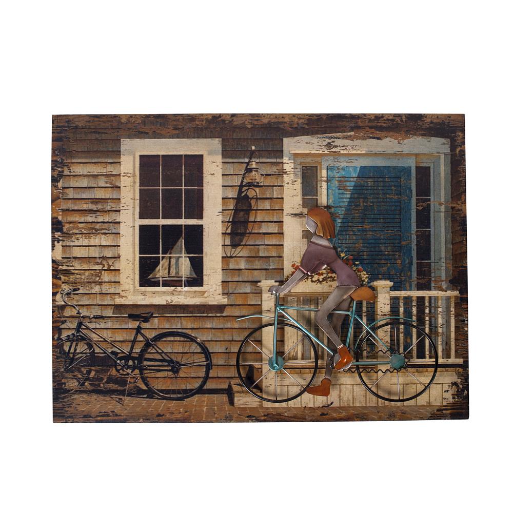 Декоративное настенное панно Country StoryДекор стен<br>Украшать стены дома остается одним из самых <br>приятных занятий для создания дополнительного <br>уюта комнаты и ярких штрихов и деталей. <br>Всем известно, что голые стены — это скучно. <br>А простыми картинами и постерами давно <br>никого не удивишь. Если вы готовы к новаторскому <br>искусству, то панно Country Story придется вам <br>по вкусу. Эта картина выполнена практически <br>в 3D технике — её можно не только разглядывать <br>и показывать гостям, но и трогать. Панно <br>создано из МДФ и представляет собой изображение <br>крыльца загородного дома с велосипедом. <br>А вот второй велосипед достаточно необычен: <br>он создан из металла и приклеен в картине. <br>Детали девушки на велосипеде выполнены <br>из ткани. Такое панно добавит декораторской <br>изюминки в современный интерьер или кантри.<br><br>Цвет: Разноцветный<br>Материал: МДФ, Ткань, Металл<br>Вес кг: 1,5<br>Длина см: 53<br>Ширина см: 6<br>Высота см: 40