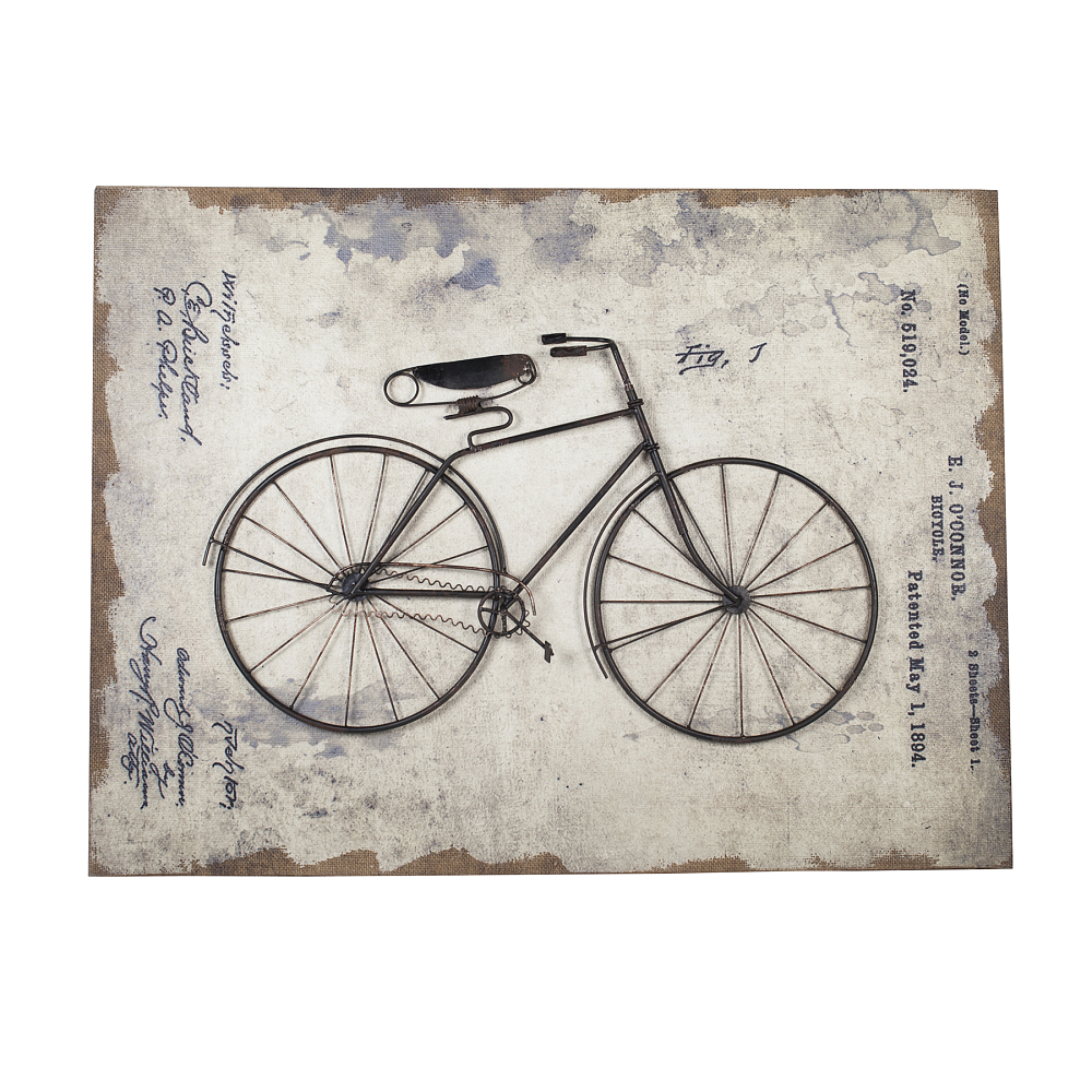 Декоративное настенное панно Bicycle StoryДекор стен<br><br><br>Цвет: Разноцветный<br>Материал: МДФ, Ткань, Металл<br>Вес кг: 5,6<br>Длина см: 80<br>Ширина см: 7<br>Высота см: 60