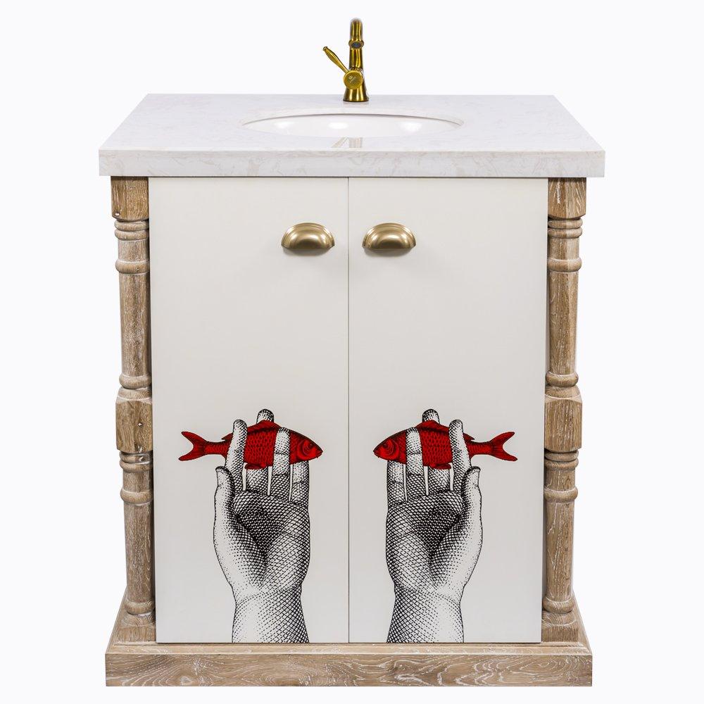 Купить Тумба с раковиной Океан Снег Fornasetti в интернет магазине дизайнерской мебели и аксессуаров для дома и дачи