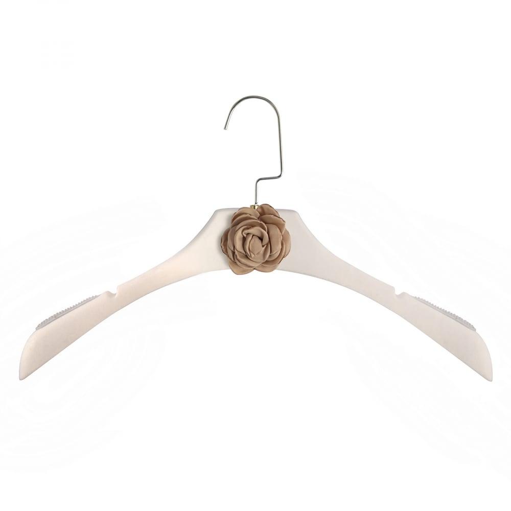 Фото Вешалка-плечики Chanel Белая с цветком кофейного  оттенка для женской одежды. Купить с доставкой