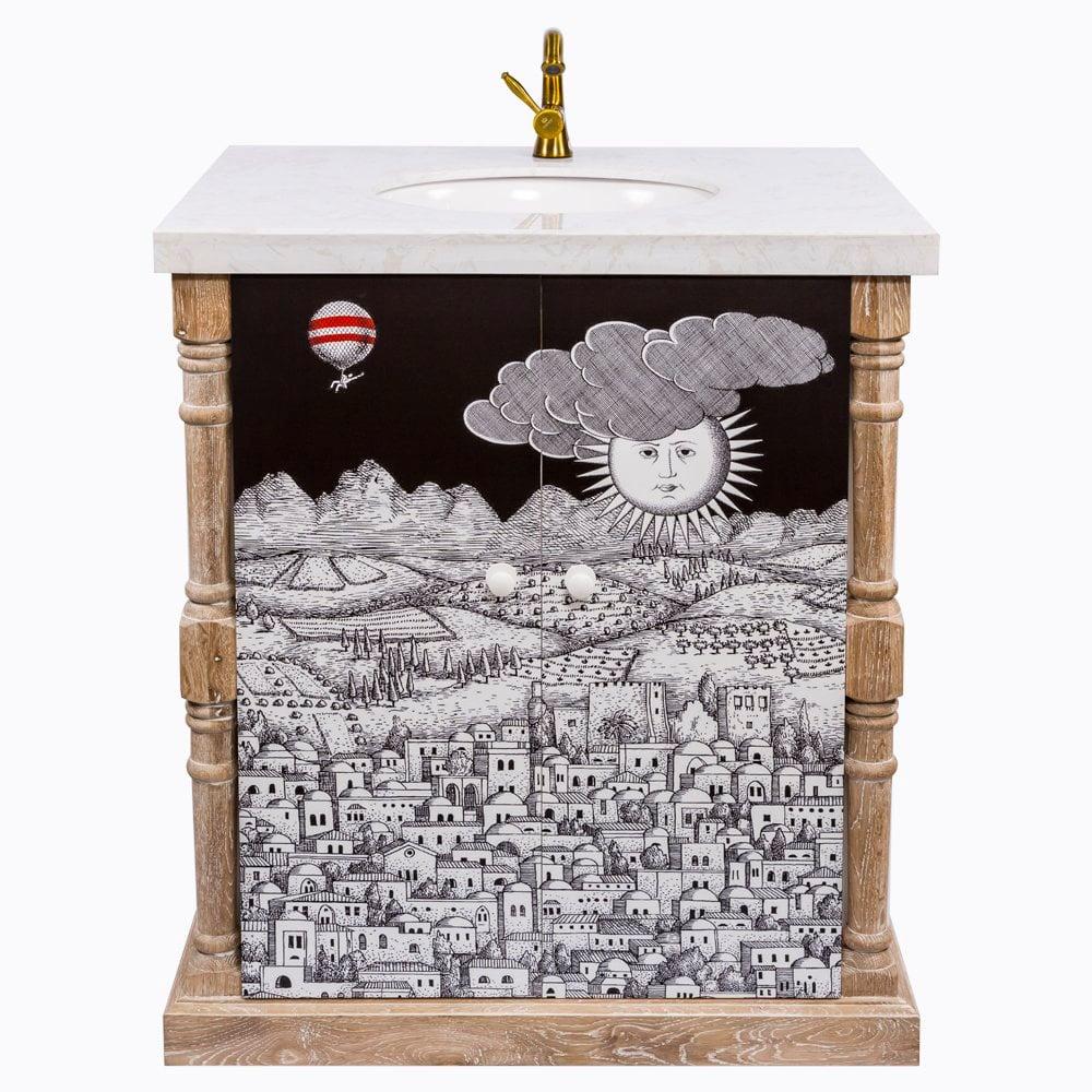 Тумба с раковиной Старый город Снег Fornasetti