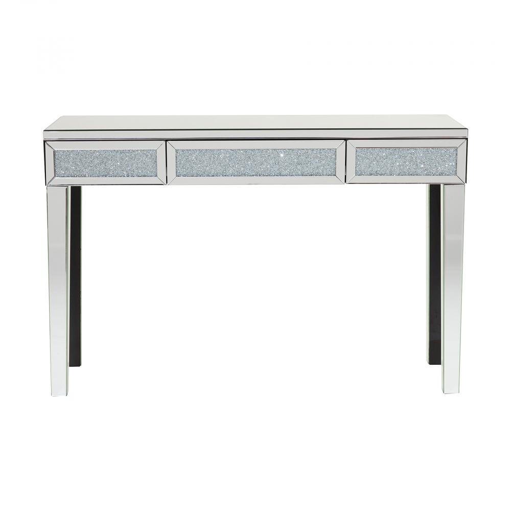 Зеркальный консольный столик Amiens DG-HOME Стильный и практичный консольный столик  Amiens с тремя выдвижными ящиками, который  можно удачно разместить в холле, спальне  или гостиной. Эффектная консоль, в которой  удачно сочетаются МДФ и зеркальные элементы.  У изделия достаточно вместительная глубина,  позволяющая разместить на столешнице различные  предметы декора, винтажные вазы или часы.  Выдвижные ящики будут полезны для хранения  украшений, аксессуаров, всевозможных бытовых  мелочей. Этот изысканный и роскошный предмет  мебели непременно подчеркнет красоту интерьера.  Приобретите консольный столик Amiens, это  отличный подарок!