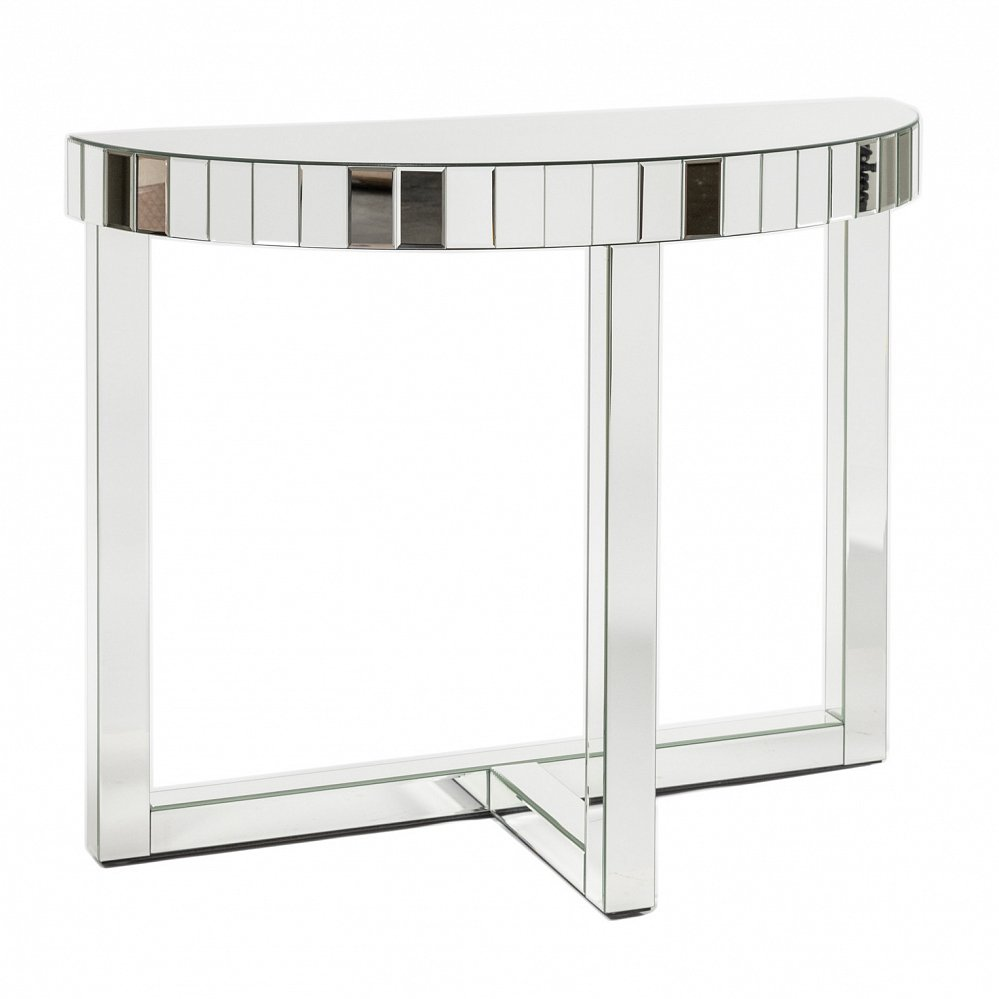 Зеркальный консольный столик Vienne DG-HOME Оригинальный серебристый консольный столик  Vienne на высоких прямоугольных ножках сразу  привлекает внимание. Изделие оснащено полукруглой  зеркальной столешницей, что позволит очень  удобно расположить его возле стены или  любой другой вертикальной плоскости. Необычный  современный стол-консоль отлично подойдет  к современному интерьеру. Отличным решением  станет размещение на блестящей столешнице  вазы, фотографий или иных декоративных  аксессуаров.