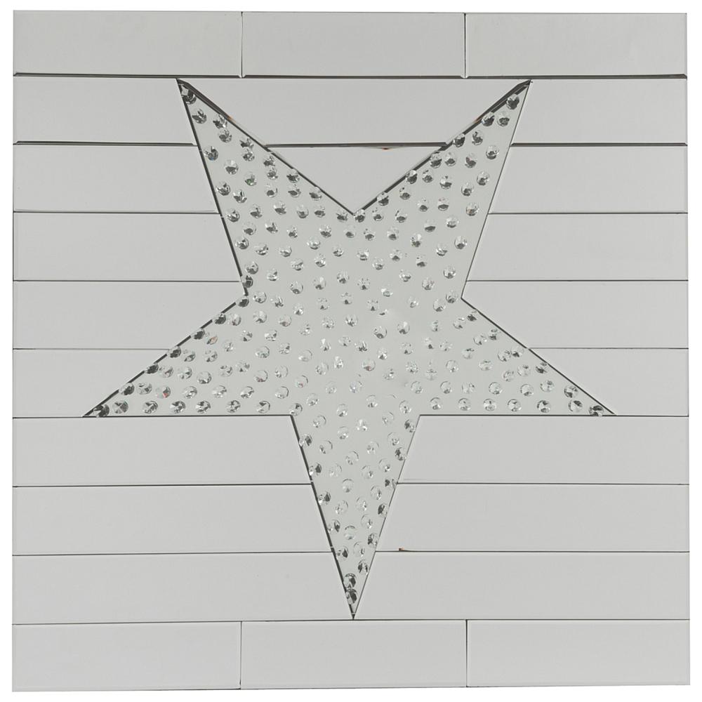 Зеркало GirondaЗеркала<br>Приятно, когда на стене висит не просто <br>зеркало, а некая картина или арт-объект. <br>Таким в вашем доме станет зеркало Gironda с <br>декоративным рисунком перевернутой звезды. <br>Зеркало относится к коллекции Витраж, среди <br>которой можно найти необычные зеркала для <br>разнообразия интерьера. Зеркало Gironda имеет <br>квадратную форму с размерами 80х80 см. Весит <br>чуть более 22 кг. И отлично сольется воедино <br>с современным стилем и хай-тек. Прекрасно <br>дополнит интерьер лофт-пространства в качестве <br>дизайнерской вещи. Зеркало имеет 10 горизонтальных <br>полос, верхняя и нижняя полосы поделены <br>на три части. Посередине расположена звезда <br>с декоративными стеклянными каплями внутри. <br>При попадании света зеркало красиво мерцает <br>и производит волшебный эффект, отражая <br>сияние на мебель и стены.<br><br>Цвет: Зеркальный<br>Материал: МДФ, Зеркало<br>Вес кг: 22,2<br>Длина см: 80<br>Ширина см: 3,9<br>Высота см: 80