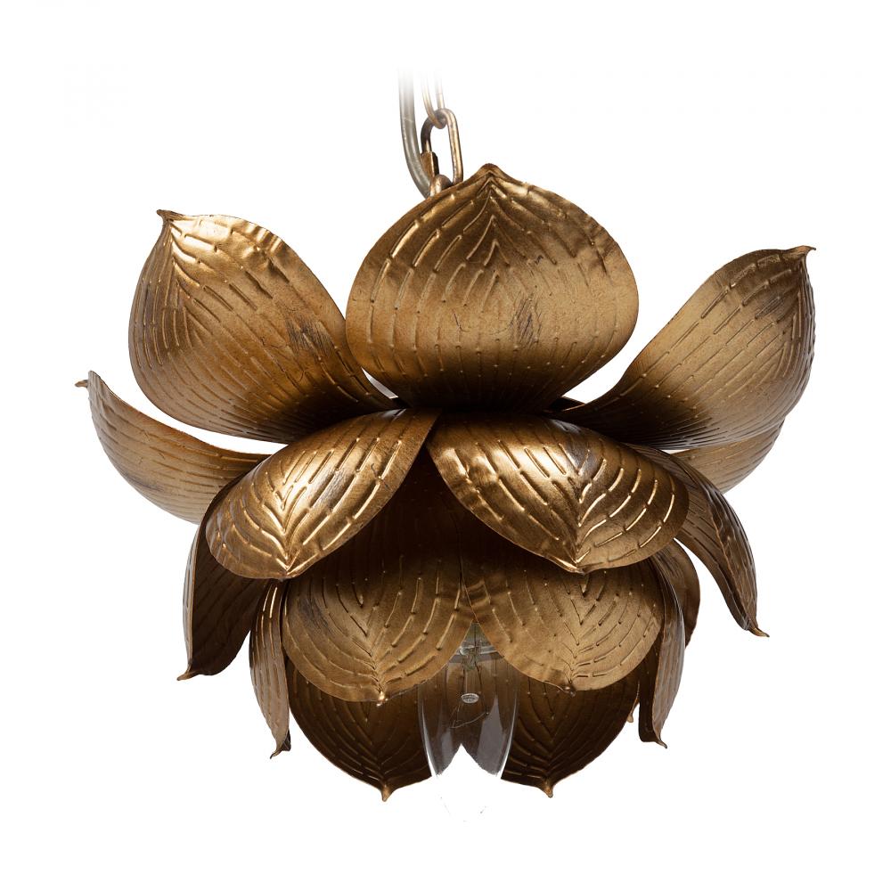Подвесной светильник Baryt DG-HOME Оригинальный подвесной светильник Baryt  с металлическим основанием золотистого  цвета крепится на тонкой металлической  цепи. Абажур также изготовлен из металла  в виде золотого цветка и направляет свет  вниз. Светильник надежен, удобен, оригинален,  создает уют и хорошее настроение. Предназначен  для использования со светодиодными лампами.