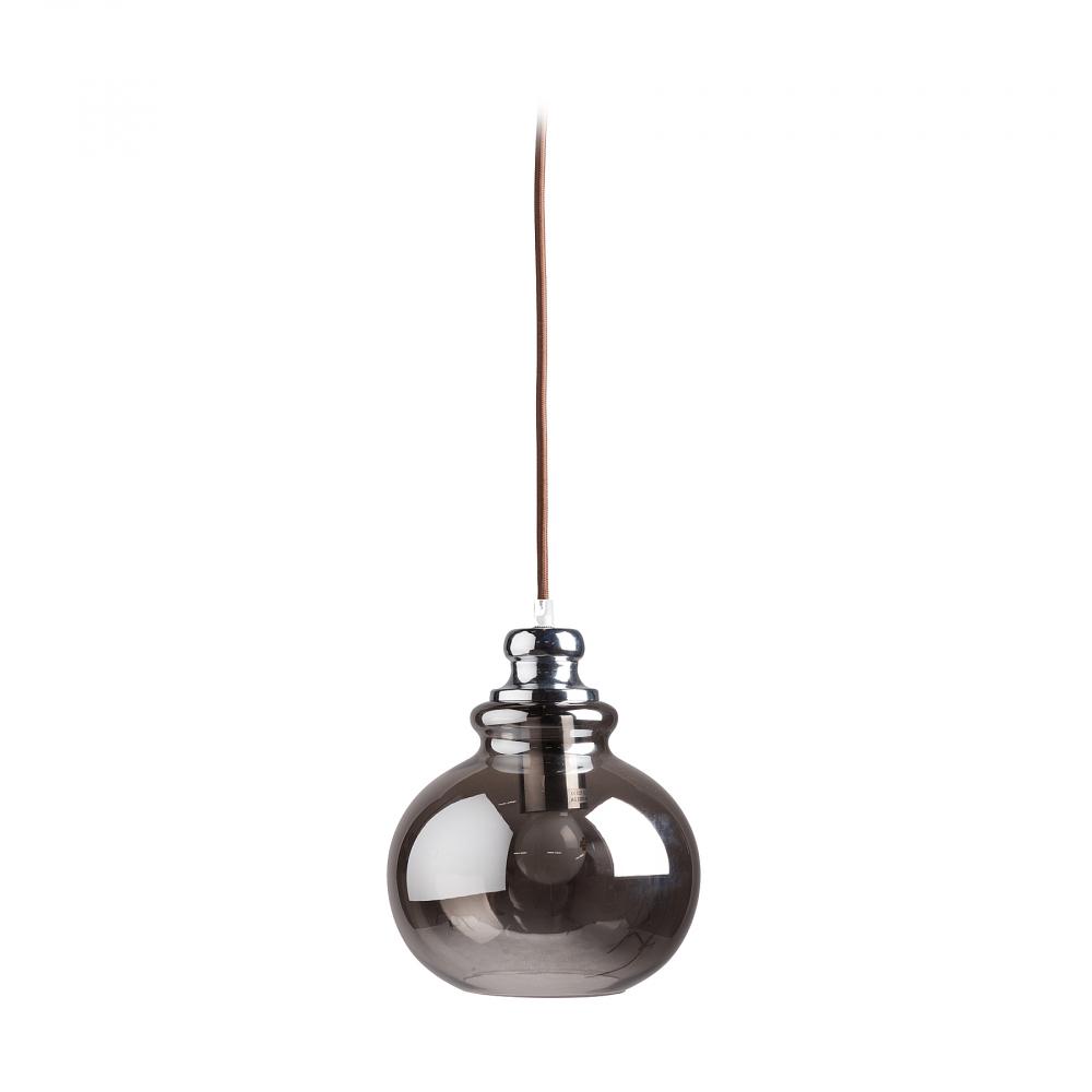 Подвесной светильник LotteПодвесные светильники<br>Оригинальный подвесной светильник Lotte <br>с хромированным стальным основанием крепится <br>на тонкой гибкой подвеске. Абажур в виде <br>сосуда необычной формы изготовлен из полупрозрачного <br>стекла светло-коричневого цвета и направляет <br>свет вниз. Светильник надежен, удобен, оригинален, <br>создает уют и хорошее настроение.<br><br>Цвет: Коричневый, Хром<br>Материал: Металл, Стекло<br>Вес кг: 0,9<br>Длина см: 20<br>Ширина см: 20<br>Высота см: 23