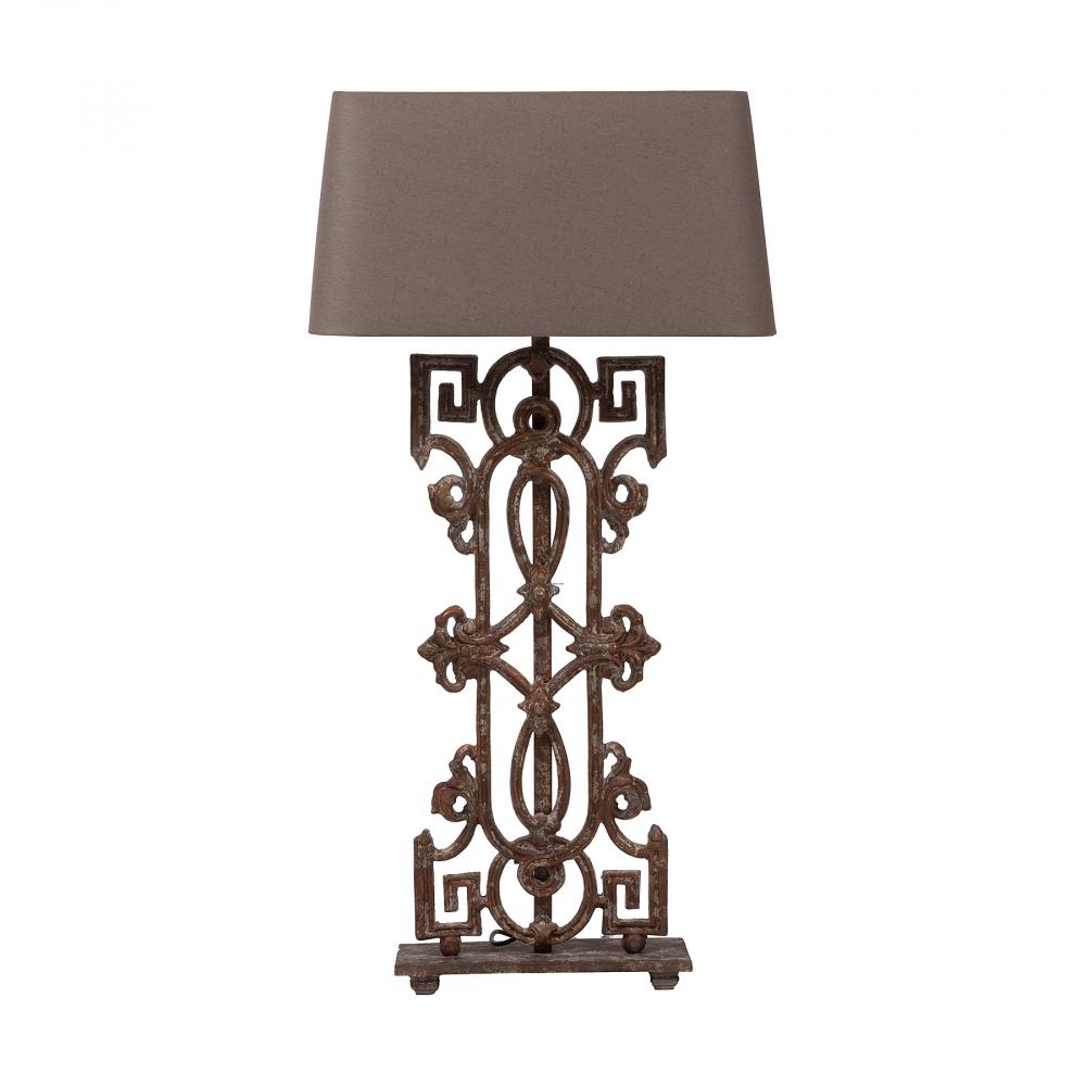 Настольная лампа SeviliaНастольные лампы<br>Оригинальная настольная лампа Sevilia с необычным <br>металлическим ажурным корпусом и тканевым <br>абажуром бежевого цвета выполнена в серо-коричневом <br>тоне, создаст уютную обстановку в доме. <br>Прекрасно подойдет в качестве подарка. <br>Шикарным дополнением к ней станет покупка <br>в нашем интернет-магазине напольного светильника <br>Greek Key Baluster в таком же стиле. Предназначена <br>для использования со светодиодными лампами.<br><br>Цвет: Бежевый<br>Материал: Металл, Ткань<br>Вес кг: 14,2<br>Длина см: 50<br>Ширина см: 28<br>Высота см: 99