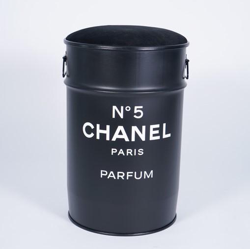 Купить Декоративная бочка-пуф Chanel №5 black M в интернет магазине дизайнерской мебели и аксессуаров для дома и дачи