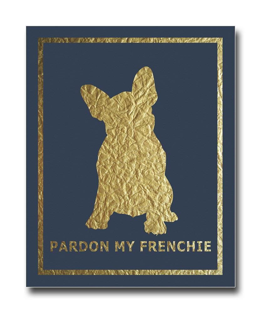 Фото Постер French Dog на синем фоне A4. Купить с доставкой