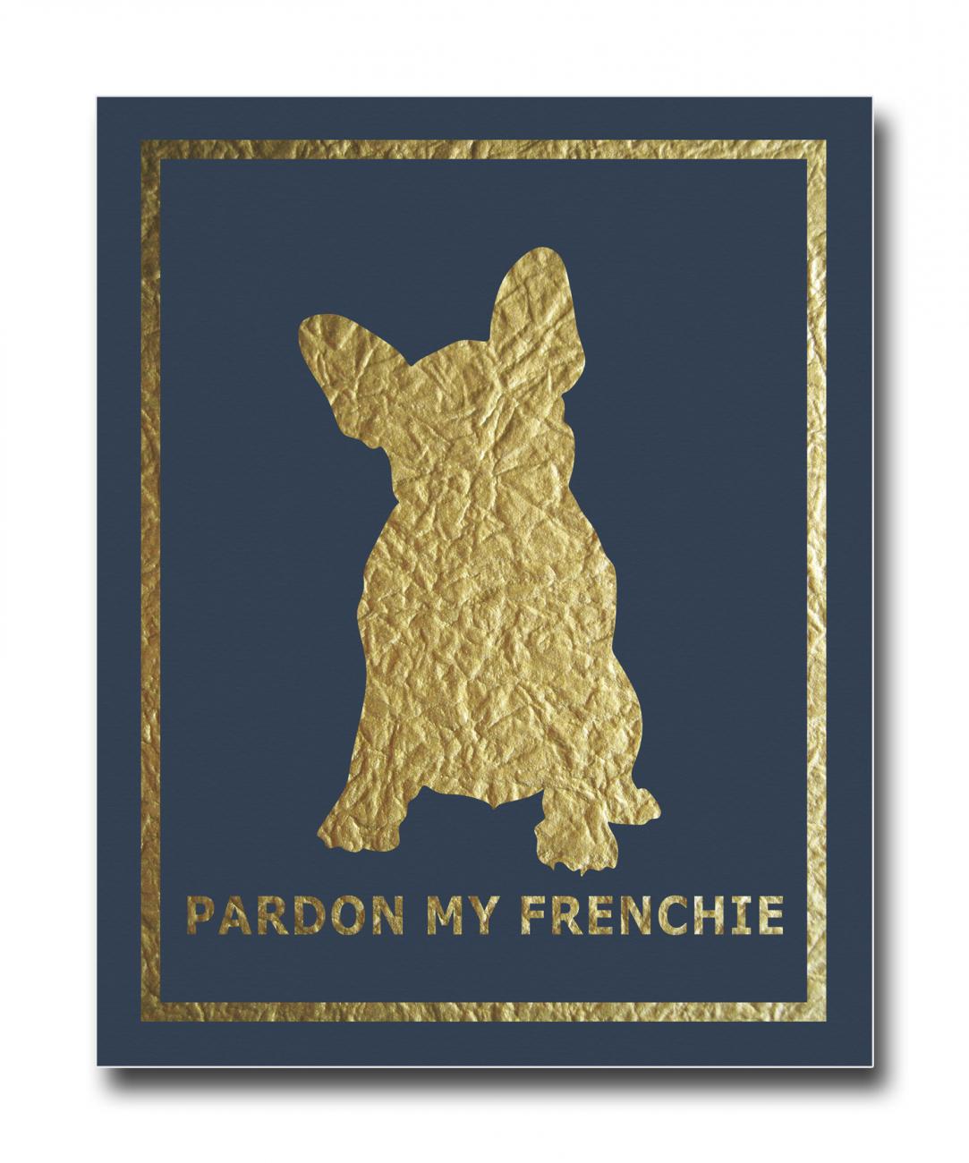 Купить Постер French Dog на синем фоне A4 в интернет магазине дизайнерской мебели и аксессуаров для дома и дачи