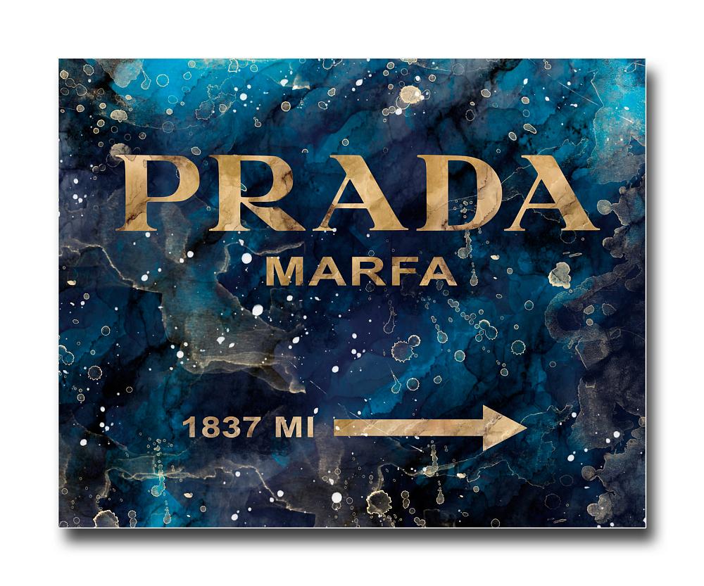 Постер Prada Mafia на синем в золотом A4