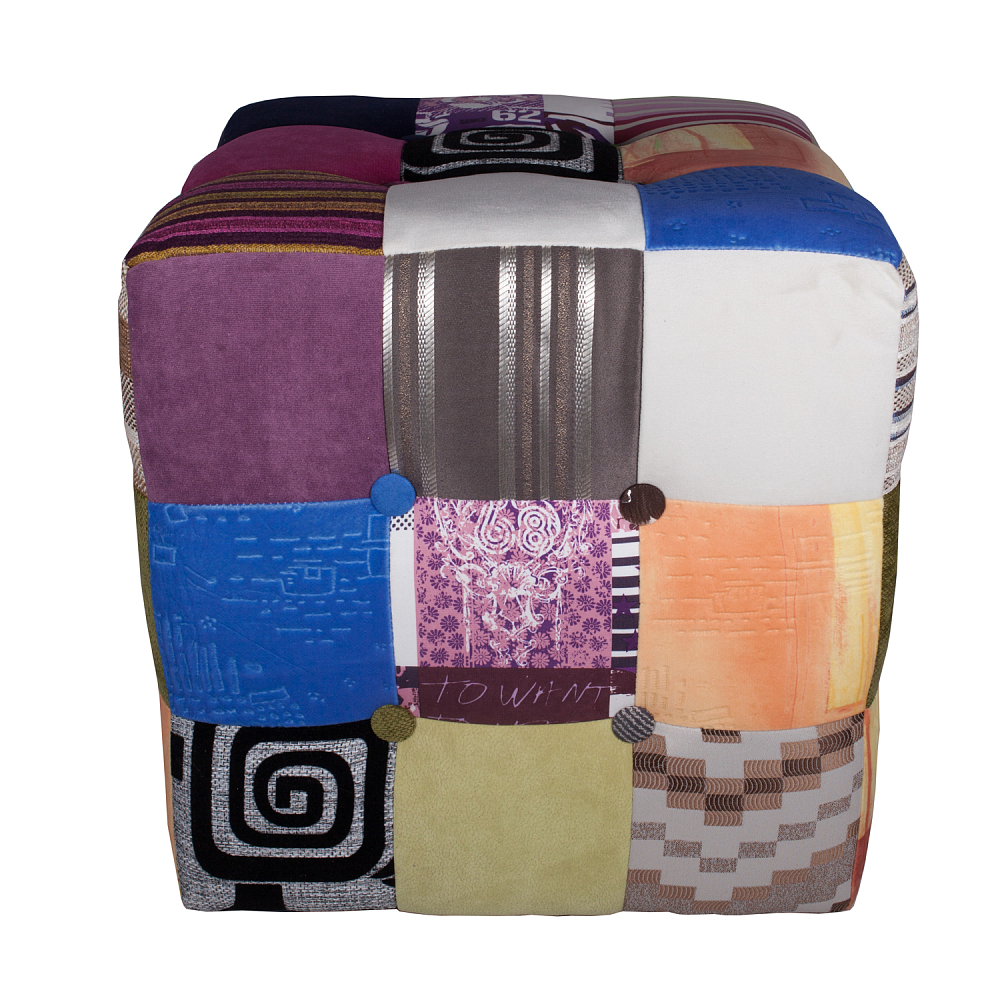 Пуф Patchwork ColorsПуфы и оттоманки<br><br><br>Цвет: Разноцветный<br>Материал: Ткань<br>Вес кг: 3,5<br>Длина см: 41<br>Ширина см: 41<br>Высота см: 43