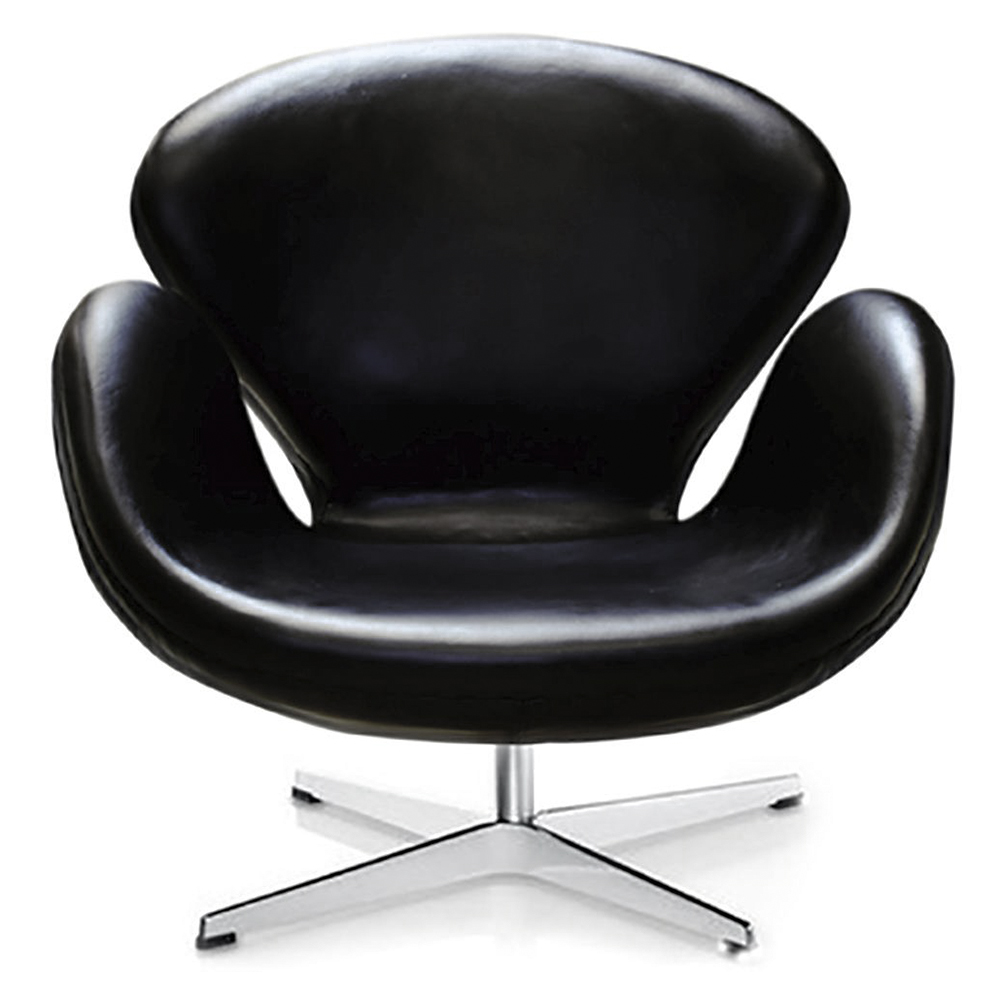 Кресло Swan Chair Кожа Натульная Чёрная, Di-D-04-12