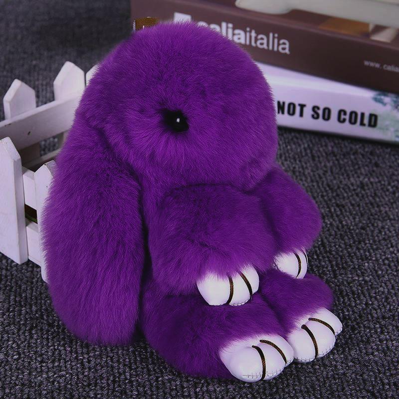 Меховой Зайка Брелок Фиолетовый