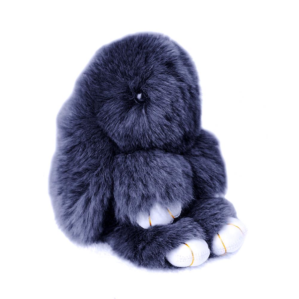 Меховой Зайка Брелок Тёмно-серый