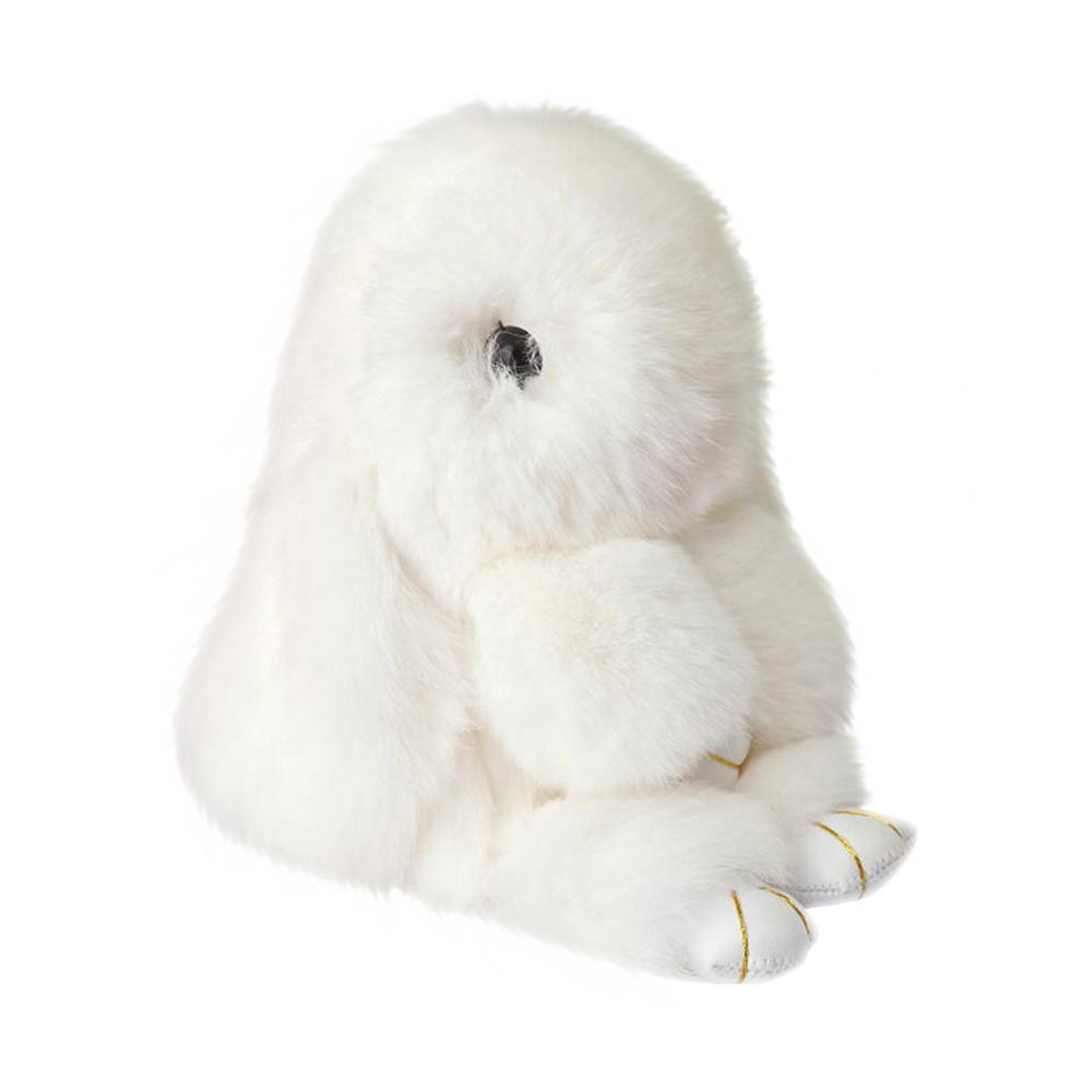 Меховой Зайка Брелок Белый