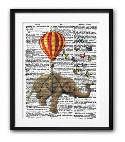 Постер Слон и Бабочки А4