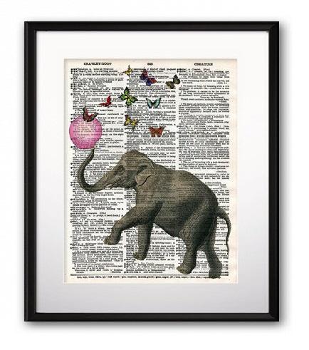 Купить Постер Elephant and Balloon А3 в интернет магазине дизайнерской мебели и аксессуаров для дома и дачи