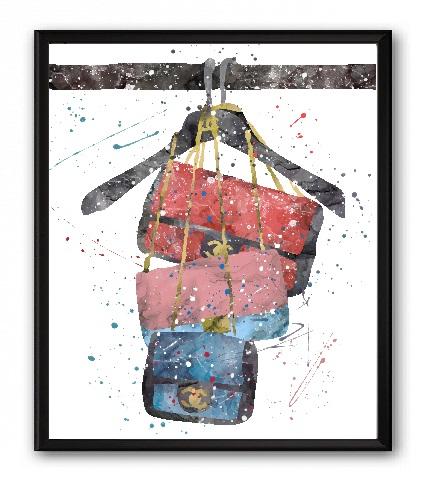 Купить Постер Сумки Chanel А3 в интернет магазине дизайнерской мебели и аксессуаров для дома и дачи