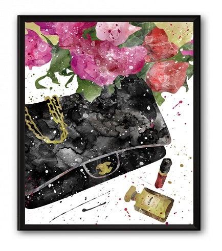 Постер Сумка Чёрная Chanel А4, DG-D-PR511-1