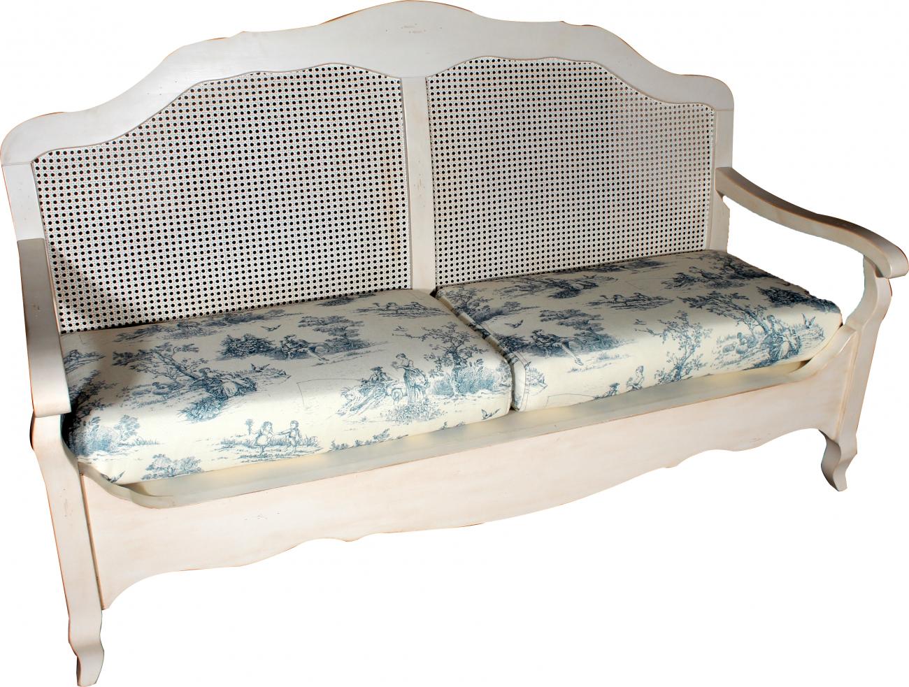 Купить Французкая лавочка Mobilier de Maison Сине-белая в интернет магазине дизайнерской мебели и аксессуаров для дома и дачи