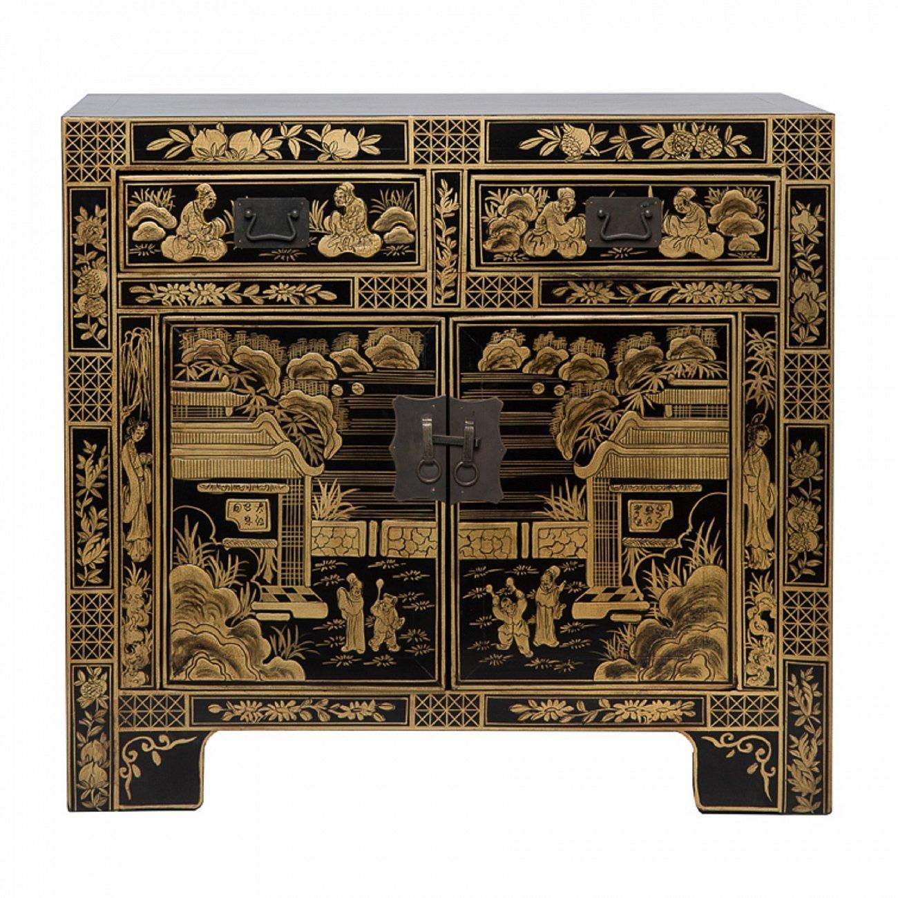 Купить Комод Гуй-ан-жин Чёрный с золотой росписью в интернет магазине дизайнерской мебели и аксессуаров для дома и дачи