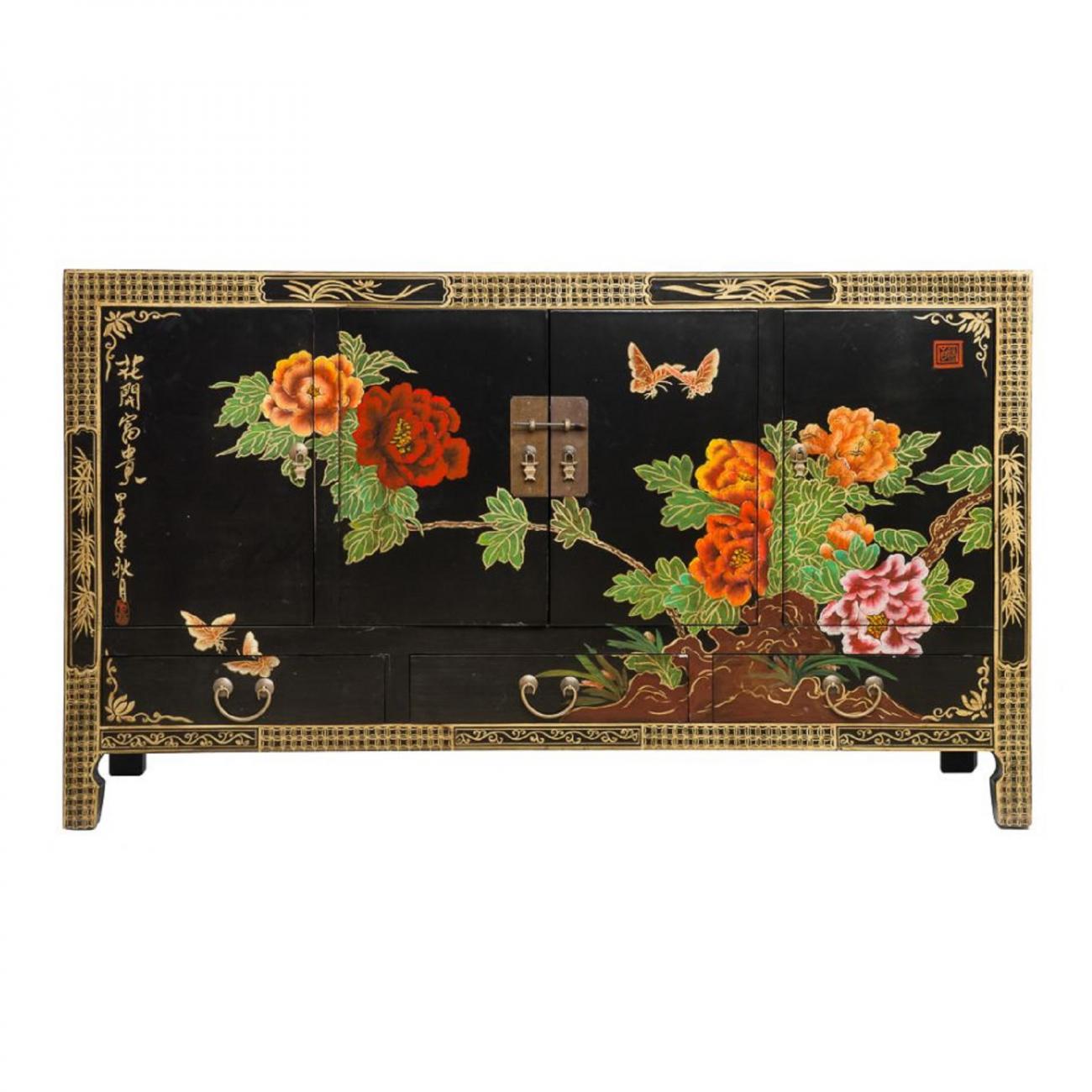 Купить Комод Гуй-Чунте Чёрный Цветы в интернет магазине дизайнерской мебели и аксессуаров для дома и дачи
