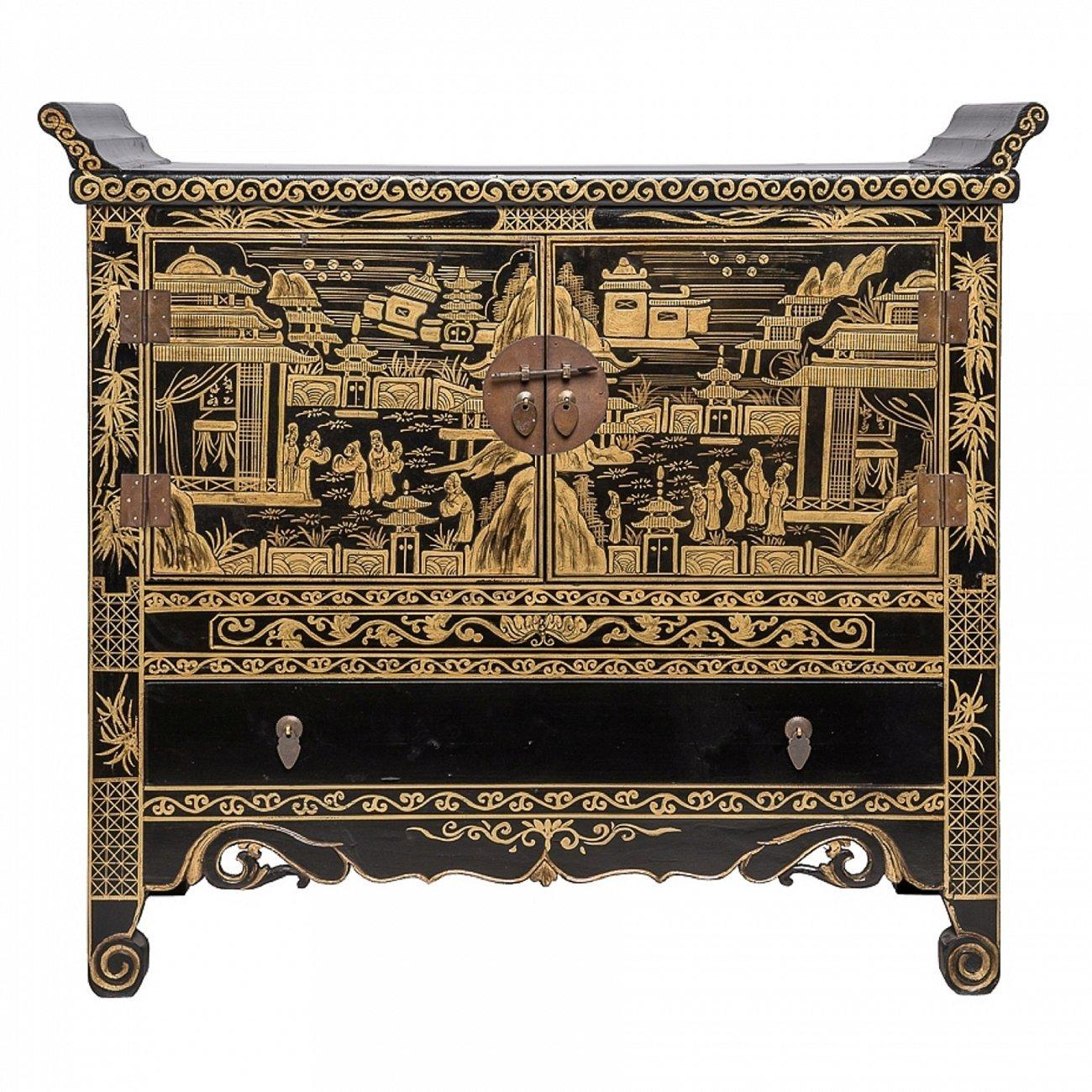 Купить Комод Лянь-эр-чу Чёрный с золотой росписью в интернет магазине дизайнерской мебели и аксессуаров для дома и дачи
