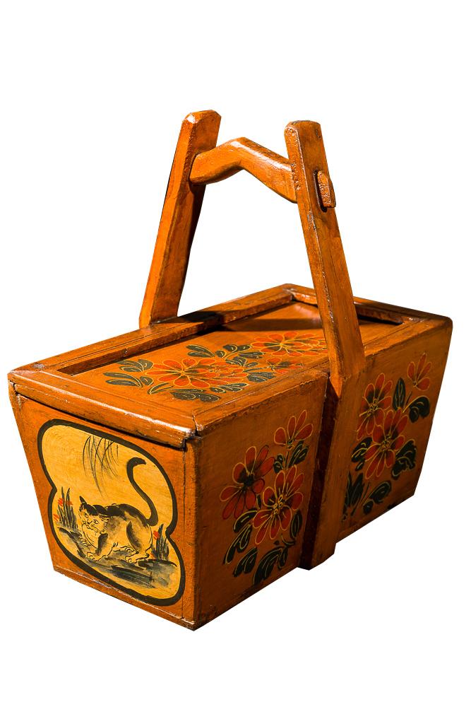 Коробка китайская для хранения Жёлтая • с росписью, DO-D-234