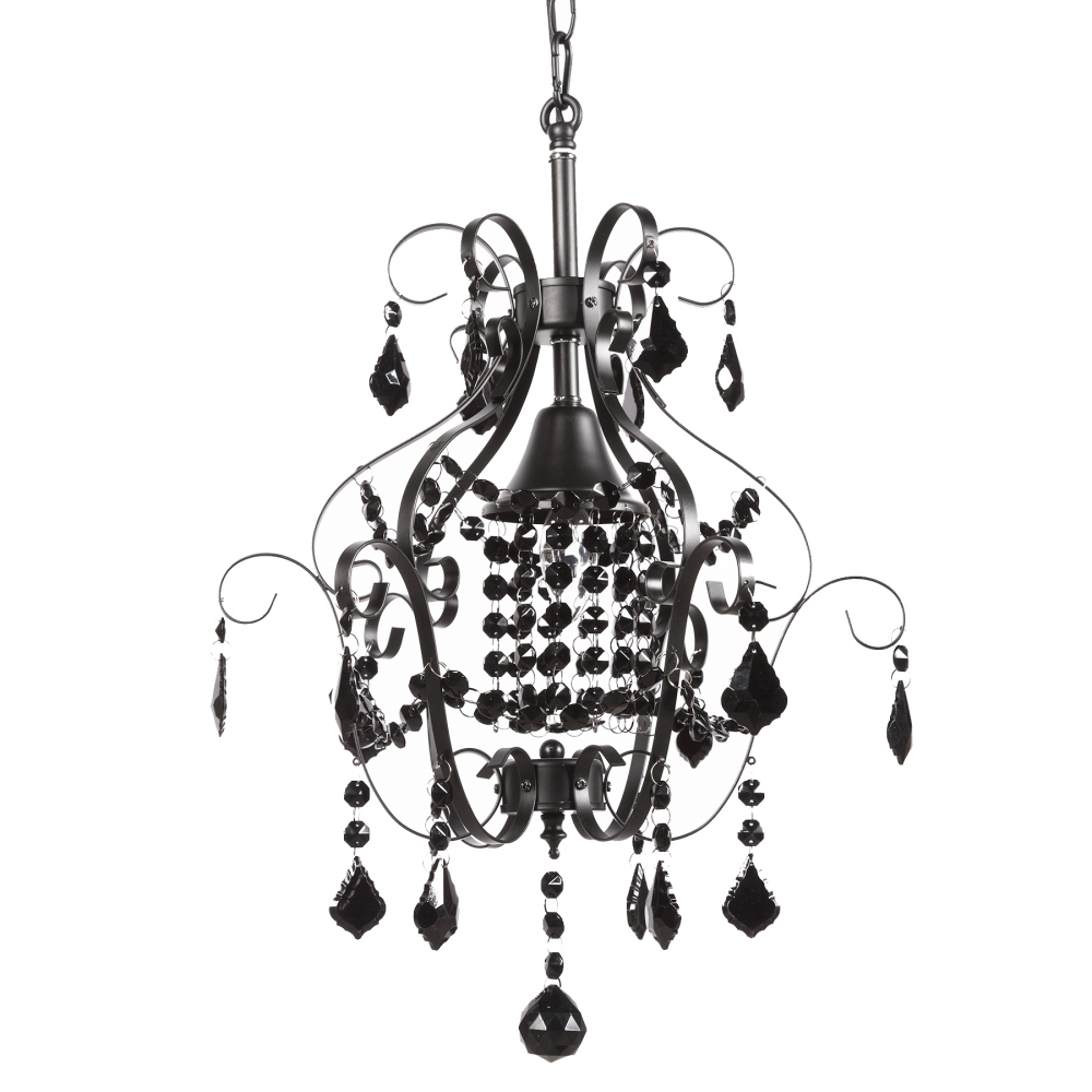 Подвесная люстра PrincessЛюстры<br>Подвесная люстра: основание окрашенное <br>в черный железо, черный хрусталь; предназначена <br>для использования со светодиодными лампами <br>Е14-1 лампа (лампы не включены в комплект)<br><br>Цвет: Чёрный<br>Материал: Металл, Хрусталь<br>Вес кг: 3,5<br>Длина см: 41<br>Ширина см: 41<br>Высота см: 50