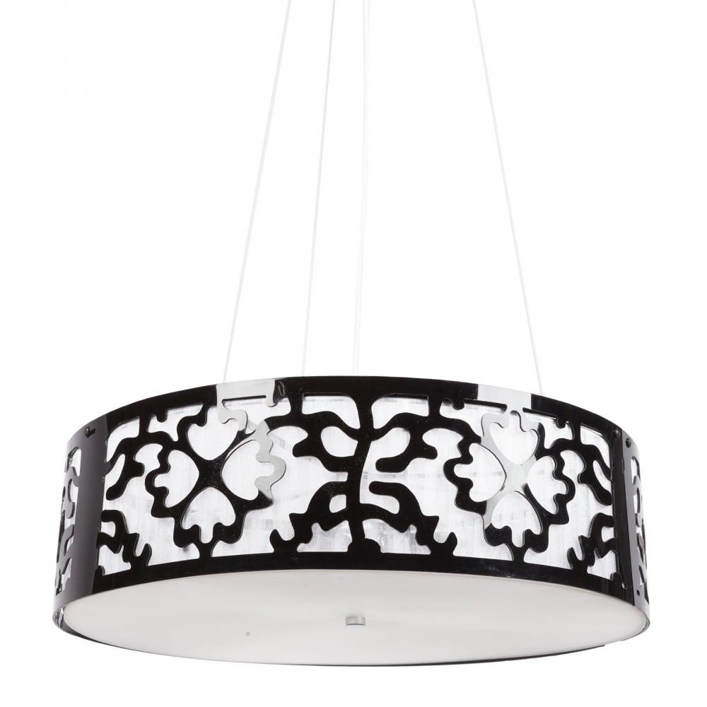 Подвесной светильник Loft DG-HOME Подвесная люстра: абажур черный акрил и  белое стекло размером диаметр 50 см, высота  15 см; основание хромированное железо; предназначена  для использования со светодиодными лампами  Е14-3 лампы (лампы не включены в комплект)