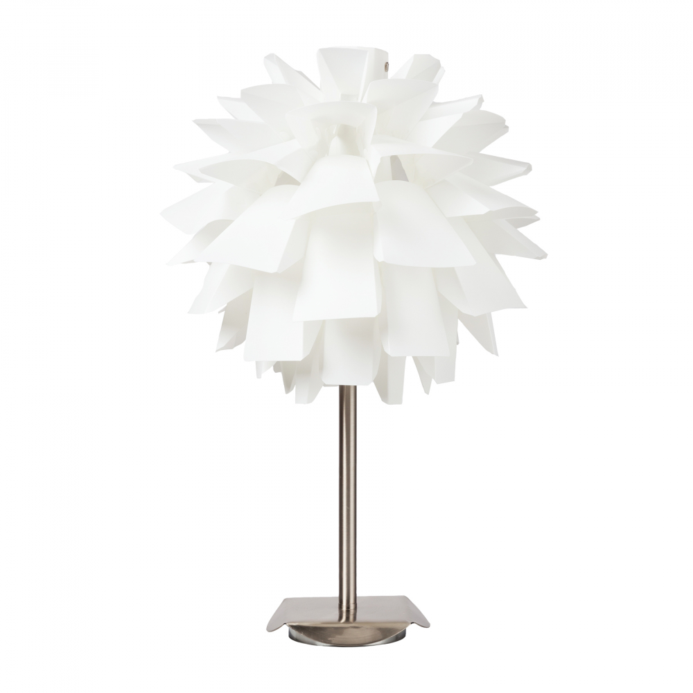 Настольная лампа ArticheНастольные лампы<br>Настольная лампа: белый ПВХ абажур основание <br>хромированное железо; предназначена для <br>использования со светодиодными лампами <br>Е27-1 лампа (лампы не включены в комплект)<br><br>Цвет: Белый<br>Материал: Металл, ПВХ<br>Вес кг: 1,9<br>Длина см: 30<br>Ширина см: 30<br>Высота см: 50